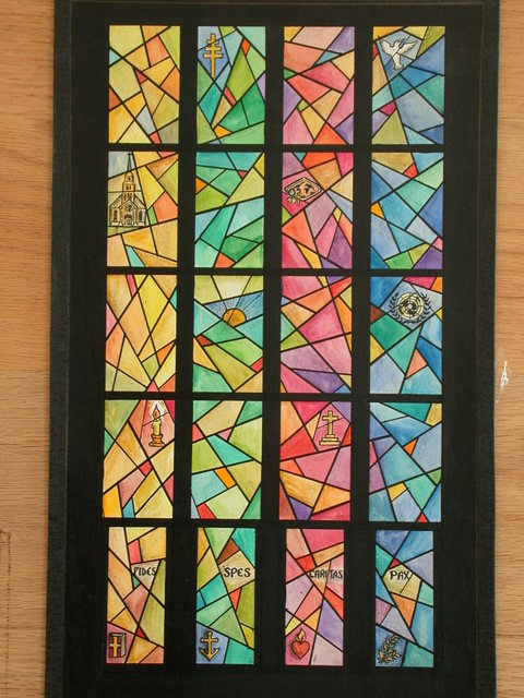 [Design drawing for stained glass window with vibrant, 'fractured' angles and symbols labeled Fides, Spes, Caritas, Pax. Includes a candle, anchor, Sacred Heart, and the United Nations logo]