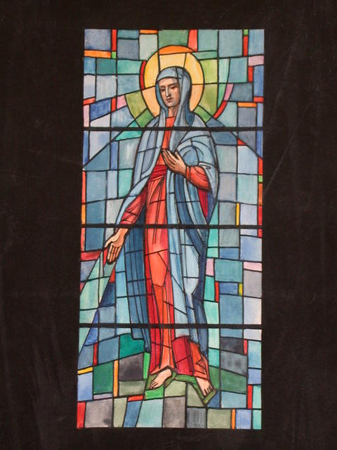 [Design drawing for stained glass window with Virgin Mary over grid for Catholic Church in New Iberia, Louisiana]