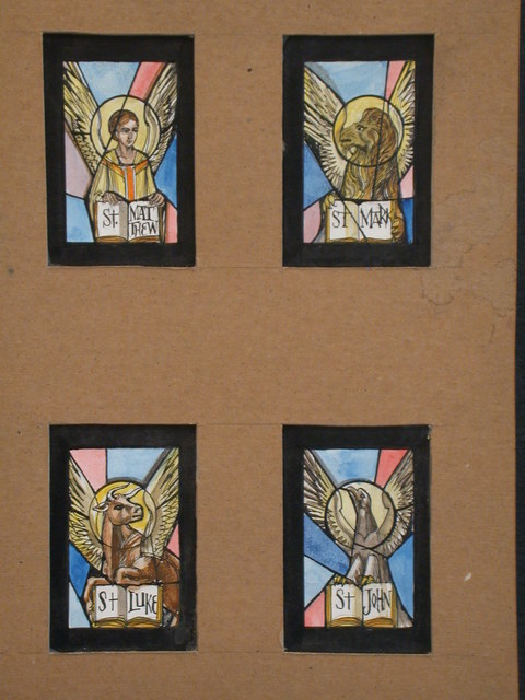 [Design drawing for stained glass windows showing four Apostles with symbolic figures: man, lion, ox, and eagle, each holding open Bibles with names]