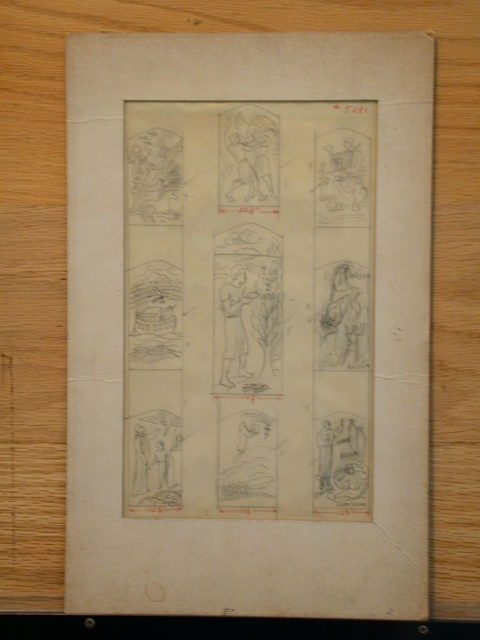 [Design drawing for stained glass with Old Testament vignettes: Noah, Jacob Wrestling Angel, Burning Bush, etc.]