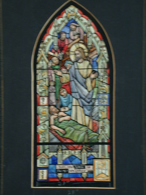 """[Design drawing for stained glass with text """"Son thy sins be forgiven thee""""]"""