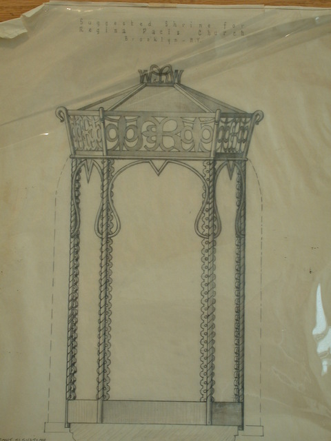 [Design drawing for suggested shrine for Regina Pacis Church / Convent Chapel in Brooklyn, New York]