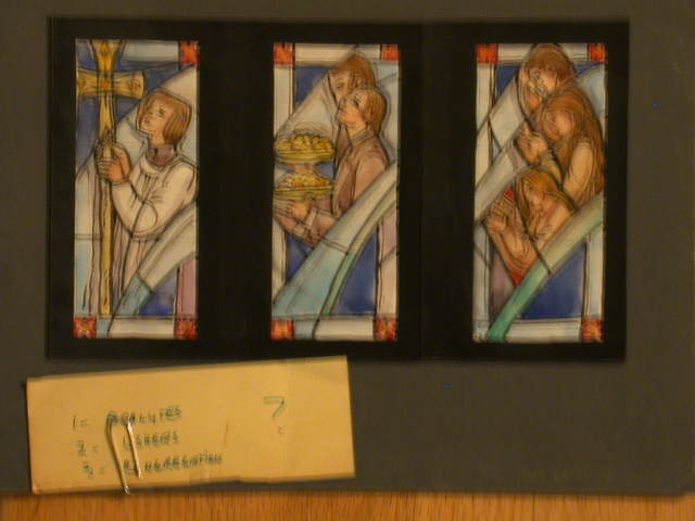 [Design drawing for three stained glass windows showing Acolytes/Ushers/Parishioners at Prayer]