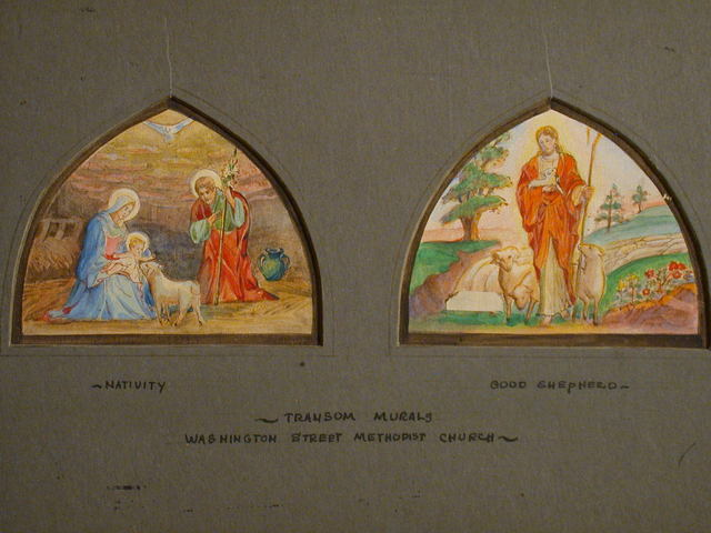[Design drawing for Transom murals with Nativity, and Good Shepherd for Washington Street Methodist Church in Petersburg, Virginia]