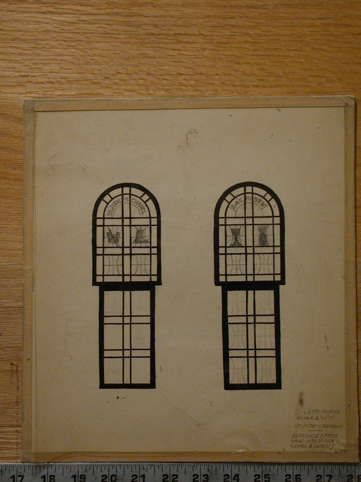 Design Drawing For Two Round Arch Stained Glass Sacristy Windows