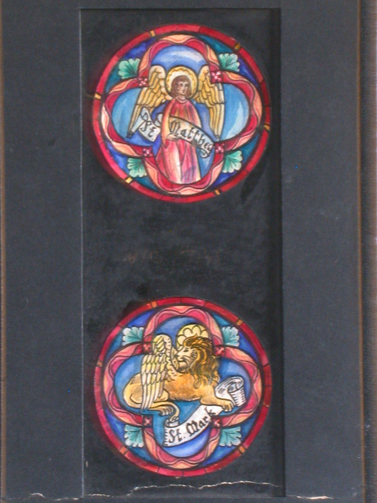 [Design drawing for two stained glass tondo windows with St. Matthew as man; and St. Mark as lion]