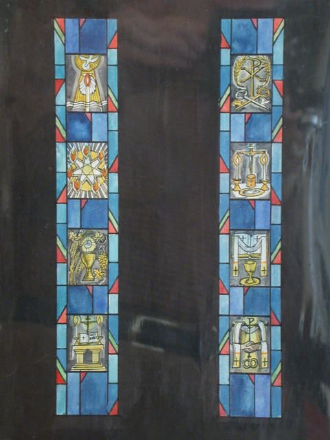 [Design drawing for two stained glass windows showing Symbols of Sacraments: Pentecost, Eucharist, Holy orders, marriage, etc.]