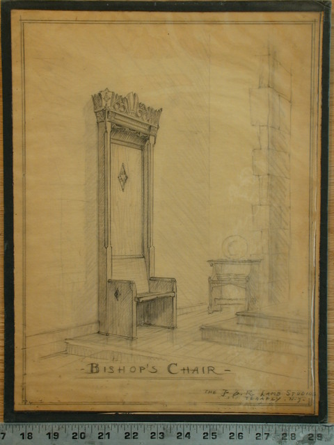 [Design drawing for woodwork: Bishop's Chair]
