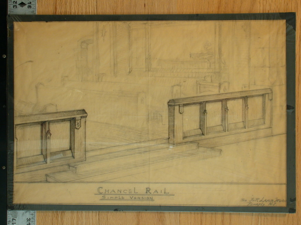 [Design drawing for woodwork: Chancel Rail, Simple Version]
