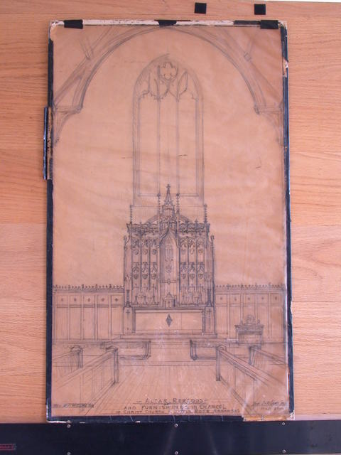 [Design drawing for woodwork for Altar Reredos and furnishings in Chancel for Christ Church in Little Rock, Arkansas]