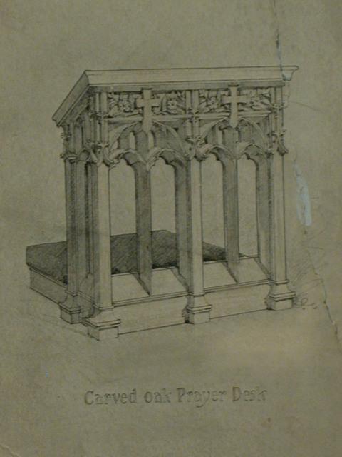 [Design drawing for woodwork for Carved oak Prayer Desk]
