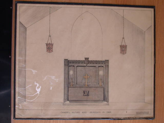 [Design drawing for woodwork for Chapel Altar and Reredos in Oak with Chiro, Alpha, Omega, and Lamb of God]