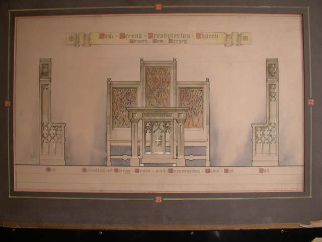 [Design drawing for woodwork for Clergy Seats and Community table for New Second Presbyterian Church in Newark, New Jersey]
