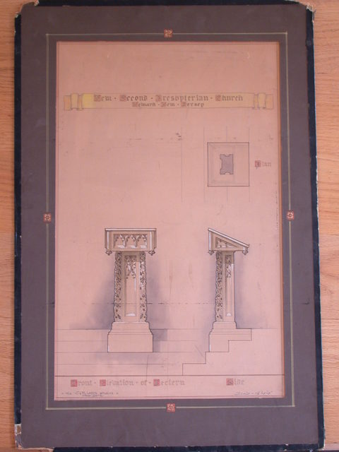 [Design drawing for woodwork for lectern for New Second Presbyterian Church in Newark, New Jersey]