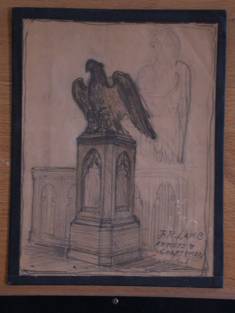 [Design drawing for woodwork for Lectern in Oak with large bird over gothic base for Church of the Good Shepherd, 126 Morgan Street in Raleigh, North Carolina]