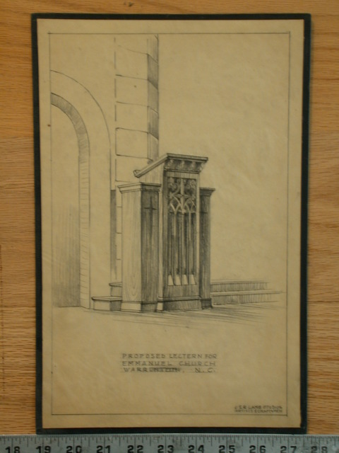 [Design drawing for woodwork: lectern for Emmanuel Church in Warrenton, North Carolina]