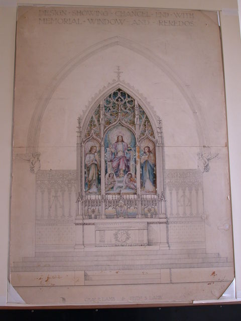 [Design drawing showing Chancel End Wall with Memorial Window and Reredos; with Chiro, Alpha and Omega, orb, bow and arrow, and angels; cutwork, dimensional mat]