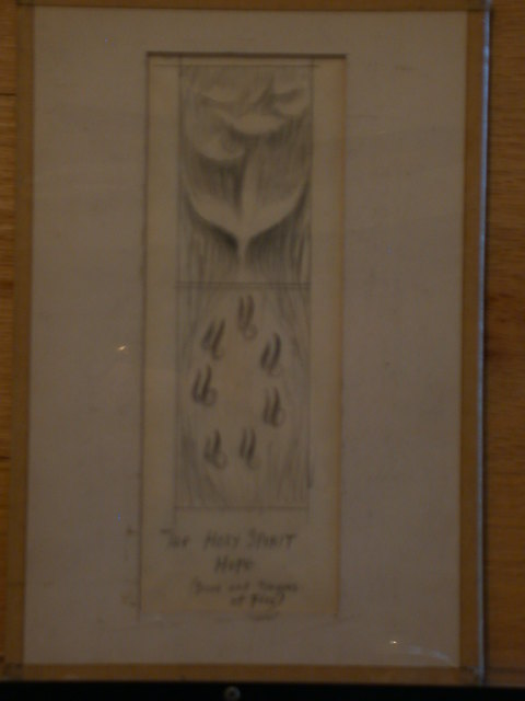 """[Design drawing showing Dove and tongues of Fire with text """"The Holy Spirit, Hope]"""