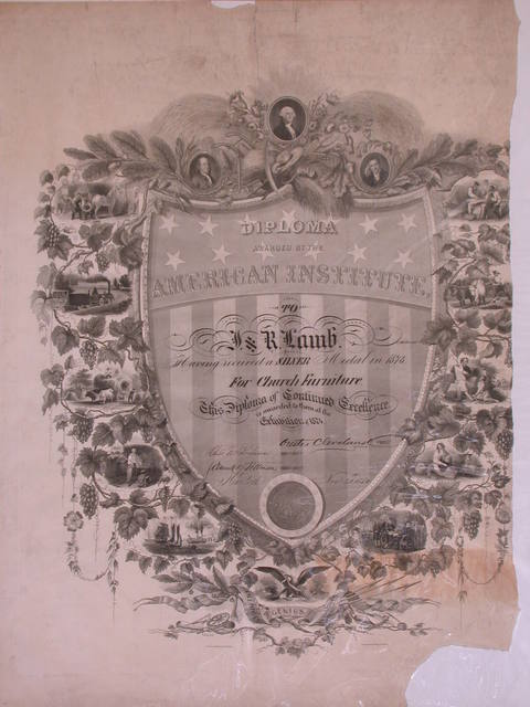 [Diploma Award By The American Institute. To J. & R. Lamb, For Church Decorations Exhibition of 1869. [signed] New York October 1869]
