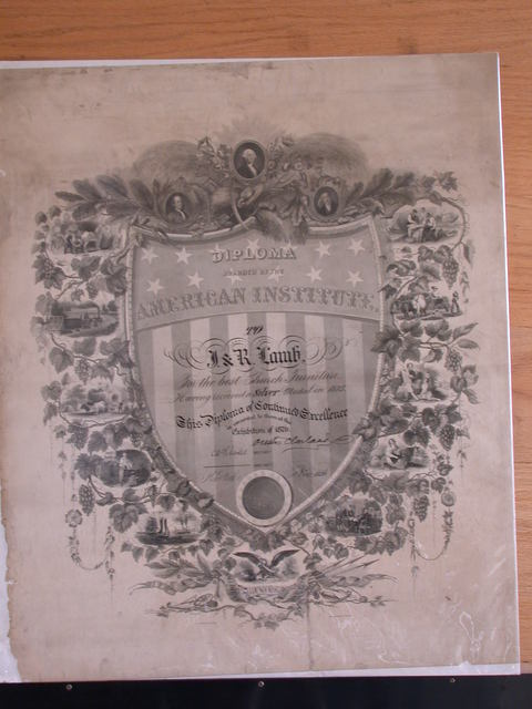 [Diploma Awarded By The American Institute to J. & R. Lamb For the Best Church Furniture. Having Received a Silver Medal in 1875. This Diploma of Continued Excellence is Awarded to them at the Exhibition of 1876. [signed] New York Nov. 1876]
