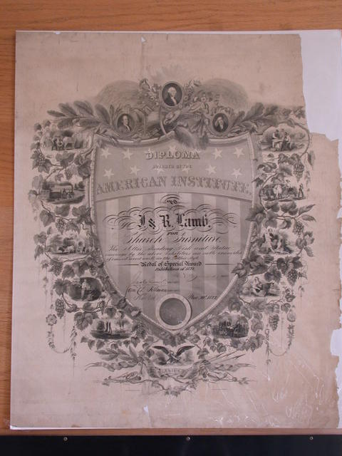 [Diploma Awarded By The American Institute To J. & R. Lamb, Having received a SILVER Medal in 1873. For Church Furniture. This Diploma of Continued Excellence. Is awarded to them at the Exhibition of 1874. [signed] New York Nov. 21, 1874]