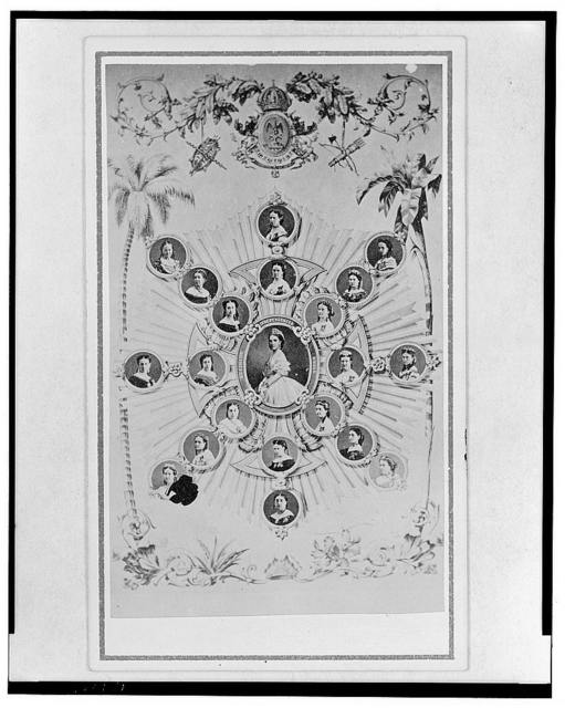 [Empress Carlota of Mexico, half-length portrait in cameo, surrounded by other cameo portraits of women, bordered on the sides by palm trees, shrubbery at bottom, topped by coat of arms and curled vine with leaves]