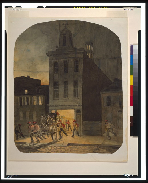 [Firehouse scene in Philadelphia showing firemen from the Weccacoe Engine Company pulling a hand-drawn fire engine as other firemen scramble to readiness]