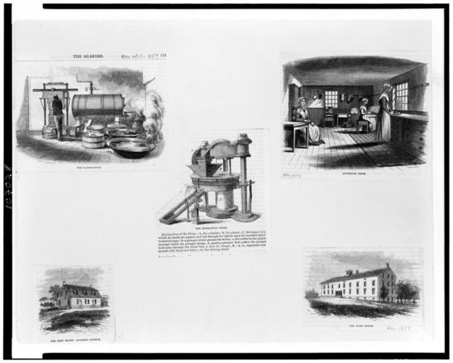 [Five scenes from a Shaker colony illustrating the production of herb cakes]