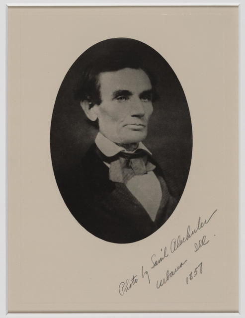 [Framed photograph of Lincoln by Samuel Alschuler.]