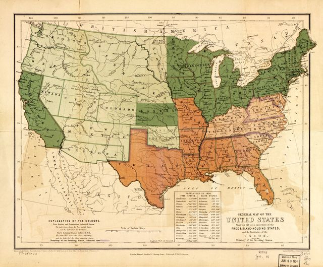 General map of the United States, showing the area and extent of the free & slave-holding states, and the territories of the Union : also the boundary of the seceding states /