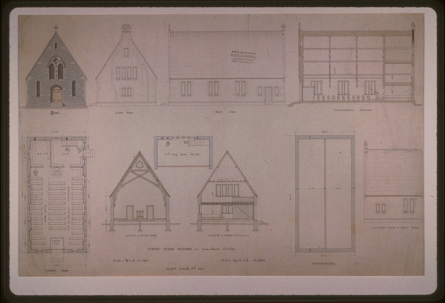[Grace Church (Utica, New York). Sunday school building. Elevation, plan, and section] / Richard Upjohn & Co., Architects.
