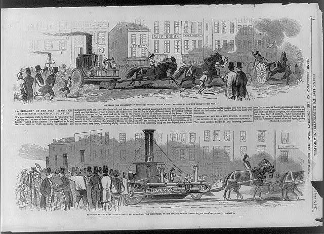 """Grand Celebration of the Cincinnati Steam Fire Dept. in honor of the opening of the Ohio and Mississippi Railroad. """"A Steamer"""" of the fire dept. of Cincinnati turning out to a fire; Procession of the steam fire-engines of the Cincinnati Fire Dept., on the occasion of the Opening of the ... Railroad"""