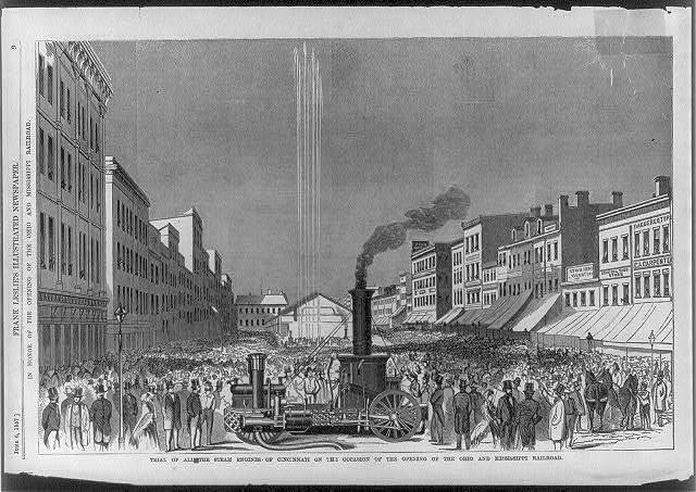 Grand Celebration of the Cincinnati Steam Fire Dept. in honor of the opening of the Ohio and Mississippi Railroad. Trial of all the steam engines of Cincinnati on the occasion of the opening of the ...Railroad