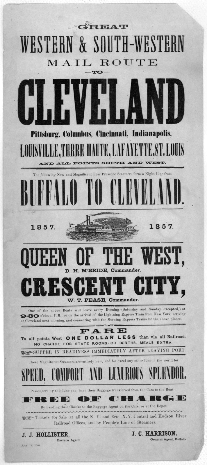 Great western & south-western mail route to Cleveland Pittsburg, Columbus, Cincinnati, Indianapolis, Louisville, Terre Haute, Lafayette, St. Louis and all points south and west The following lines and magnificent low pressure steamers form a nig