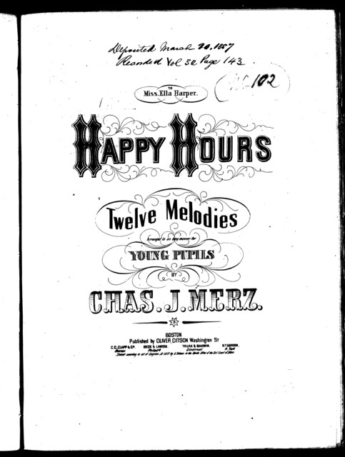 Happy hours; Sicilian melody -- Soldier's lovesong -- What's a' the steer kimmer! -- Jamie's on the stormy sea -- Trab trab -- The Ingleside -- Trooper's song -- Ossian's serenade -- Peasant maiden's lament -- Little gipsy Jane polka -- Bonny bo