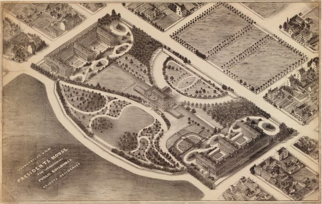 Isometrical view of the Presidents House, the surrounding public buildings, and private residences : [Washington D.C.].