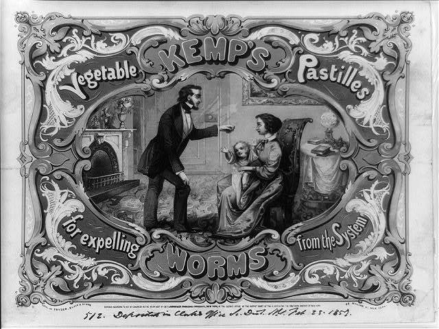 Kemp's vegetable pastilles for expelling worms from the system / lith. of Snyder, Black & Sturn 92 William St. New York.
