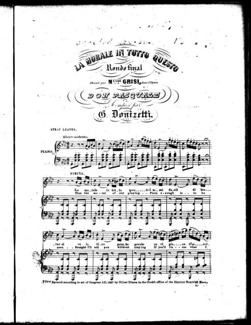 La  morale in tutto questo, rondo final [from] l'opera Don Pasquale