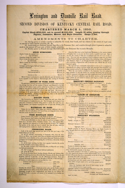Lexington and Danville railroad. Second division of Kentucky Central rail road. Chartered March 5, 1850 ... Amendments to charter ... Leslie Combs, President Lexington and Danville Railroad. April 1st, 1857.