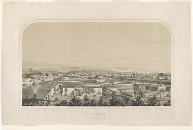 Los Angeles, Los Angeles Co., Cal. / From nature & on stone by Kuchel & Dresel, 176 Clay St., S.F. Print by Britton & Rey.