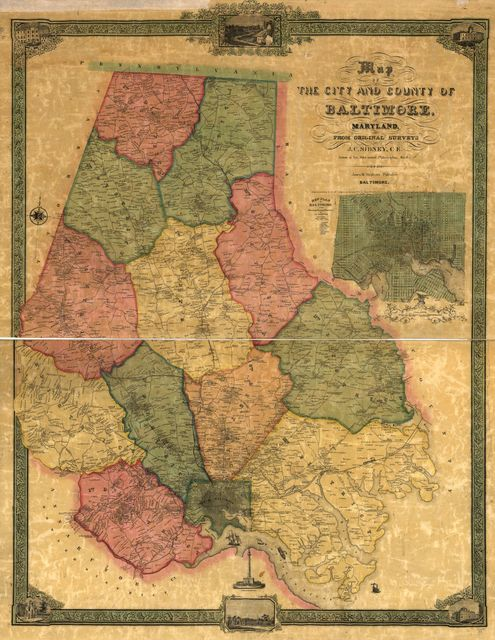 Map of the city and county of Baltimore, Maryland.