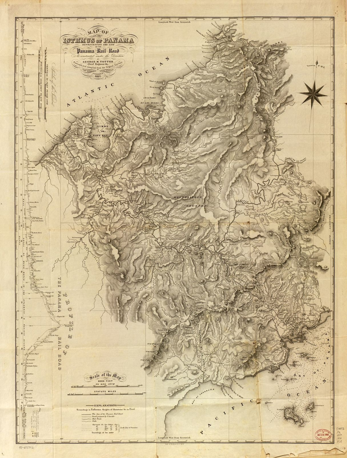Map of the Isthmus of Panama representing the line of the Panama ...