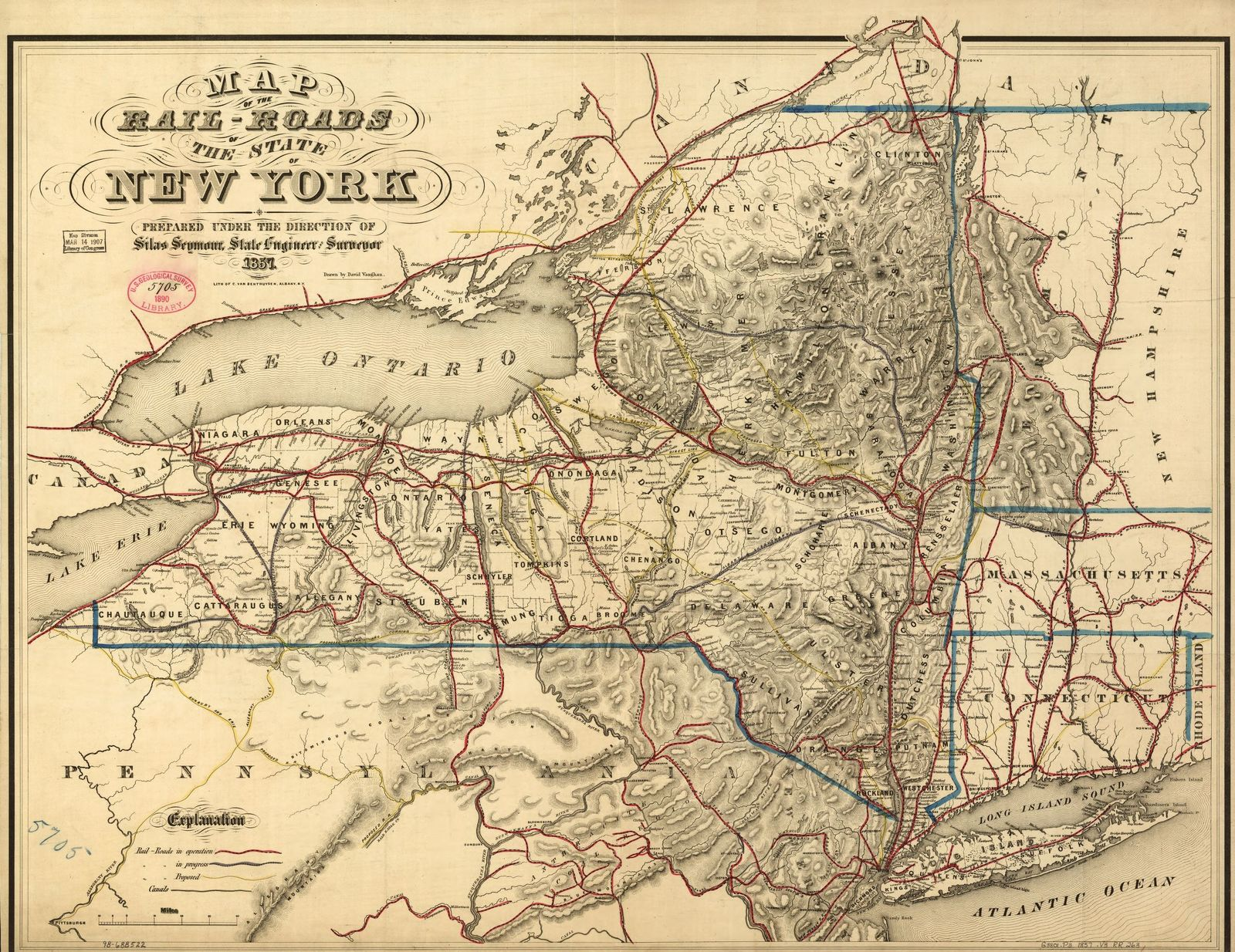 Map of the rail-roads of the state of New York prepared under the direction of Silas Seymour, state engineer surveyor.