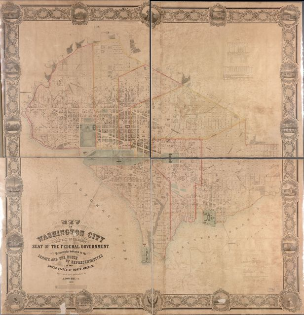 Map of Washington City, District of Columbia, seat of the federal government : respectfully dedicated to the Senate and the House of Representatives of the United States of North America /