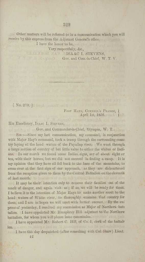 Message of the governor of Washington Territory. Also; the correspondence with the secretary of war, Major Gen. Wool, the officers of the regular army, and of the volunteer service of Washington Territory