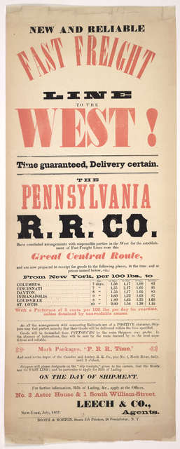New and reliable fast freight line to the west! Time guaranteed, delivery certain. The Pennsylvania R. R. Co ... New York, July, 1857.