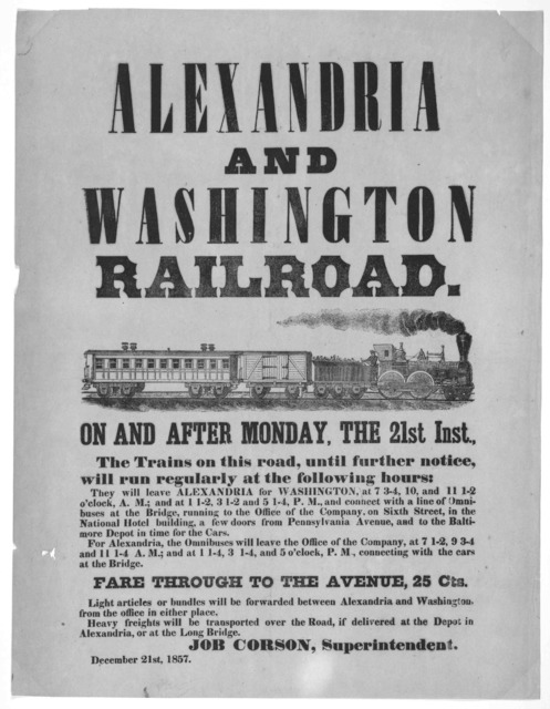 On and after Monday, the 21st inst. The trains on this road, until further notice, will run regularly at the following hours ... December 21st, 1857. [Washington, 1857].