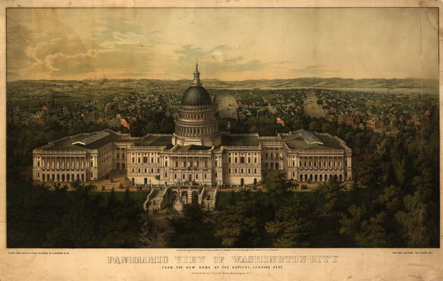 Panoramic view of Washington City from the new dome of the Capitol, looking east / / drawn from nature and print. in colors by E. Sachse & Co.