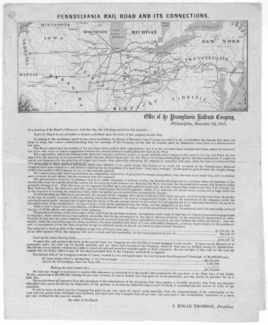 Pennsylvania rail road and its connections. Office of the Pennsylvania railroad company Philadelphia, November 3d, 1857.