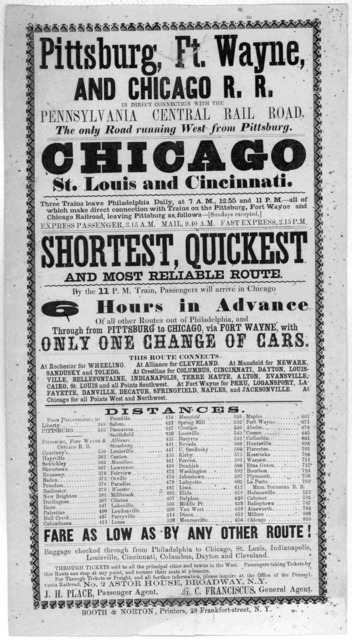 Pittsburgh, Ft. Wayne, and Chicago R. R. in direct connection with the Pennsylvania Central railroad, the only road running west from Pittsburgh. Chicago St. Louis and Cincinnati ... Shortest, quickest and most reliable route ... New York. Booth